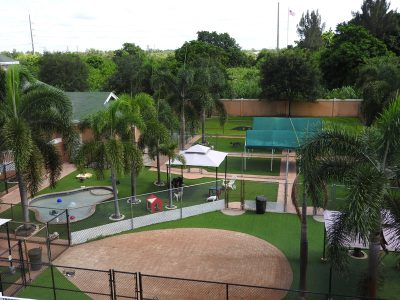 An aerial view of the resort play areas
